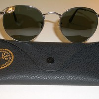 Cheap RAY BAN RB3447 50[]21mm ROUND GUNMETAL WIRE G15 UV AVIATOR SUNGLASSES MINT outlet
