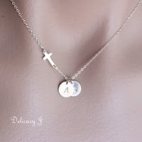 Cross with TWO initial disc necklace in sterling silver, Sideways cross necklace with personalized initial necklace Family friendship