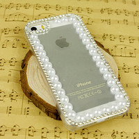 lovely clear iphone 5 case iphone 4s cover phone case top pearl design galaxy s4 note 2 note 3 case diamond iphone 5s cover iphone 5c cover