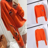 Fashion Women Loose Embroidery Round Collar Brief paragraph Pullover Top Sweater