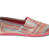 Pink Stripe Youth Glitters | TOMS.com
