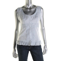 Guess Womens Pintuck Striped Blouse