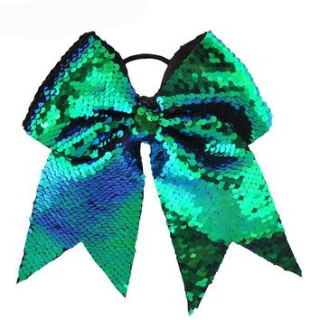 """Girls 8"""" sequin cheer hair bow ponytail holder / 15 color choices"""