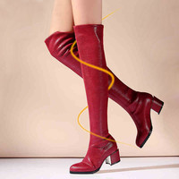 Black Over The Knee Boots Long Leather Boots Winter Natrual Real Leather Shoes Red Thigh High Boots For Tall Women Free Shipping