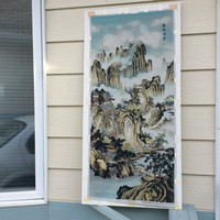 Vintage Large Asian Chinese Japanese woven Silk? Fabric Tapestry Landscape Mountains