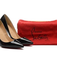 Christian Louboutin Black Patent Leather High Heels 100mm