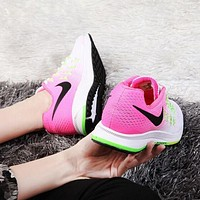 """NIKE"" AIR ZOOM 33 Trending Women Casual Sports Running Shoes Sneakers White/Pink I/A"