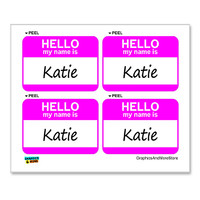 Katie Hello My Name Is - Sheet of 4 Stickers