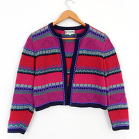 Vintage 90s Stripey Cropped Cardigan Sweater Size Small - Hot Pink Red and Violet Striped Women's Peruvian Knit Cardigan