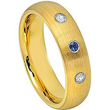 Simple Gold Ring Gold Tone Tungsten Carbide Dome With 0.08ct Genuine White Diamond & Blue Sapphire