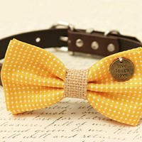 Yellow Polka Dots Dog Bow Tie collar, Burlap, Pet wedding, Charm (Live, Laugh, Love)