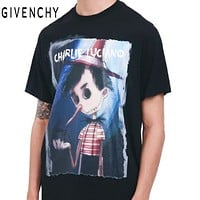 GIVENCHY Popular Women Men Casual Pinocchio Oil Painting Print Short Sleeve T-Shirt Top