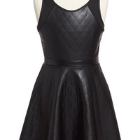 Girl's ME.N.U Faux Leather Sleeveless Dress,