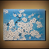 Original Wall Art 18 x 24 Abstract, Heavy Texture, White Cherry Blossom Flowers Painting, Summer, Floral Artwork, Home Decor, gift