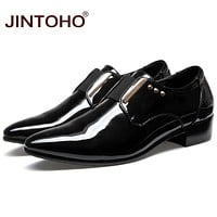 Men Leather Shoes Slip On Men Leather Moccasin Glitter Formal Male Shoes Pointed Toe Shoes For Men