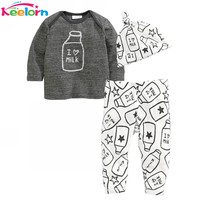 Baby Rompers Autumn Winter Baby boy clothes Long Sleeve Milk Bottle Printed