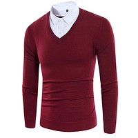 Fake Two Pieces Men Sweater 2017 Style Shirts Collar Fashion Slim Fit Autumn Winter Polo Sweater Pull Homme Pulover Men SW04