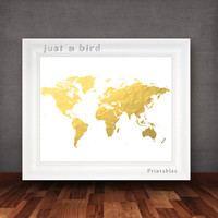 Faux gold foil world map art, gold map poster, gold and white, travel wall decor ,printable world map, wanderlust-INSTANT DOWNLOAD