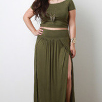 Women's Olive Maxi Skirt in Plus Sizes - Size 2X