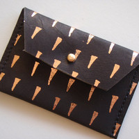 tooth&nail - coin or card purse - black with copper foil