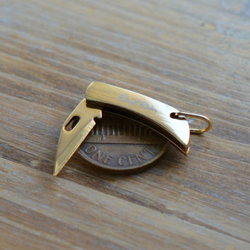 "1 - Miniature Pocket Knife Charm Folding Knife 1"" Sharp Steel Blade Gold Handle Vintage Style Pendant Charm Jewelry Supplies"