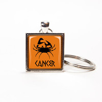 Key chain personalized zodiac sign Cancer neon orange key ring, key fob, square glass tile. Rusteam