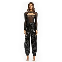 Women Fashion Street Style Solid Color Shiny PU Leather Casual Pants