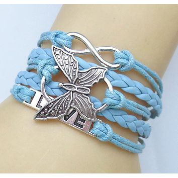 Fashion Leather vivid butterflies LOVE Friendship Charm Sideway Braided Wristband Bracelet