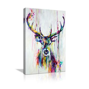 Deer Head Stag Canvas Abstract Wall Art Painting Watercolor Deer Stag Print Animal Poster Artwork for Living Room Bedroom Bathroom Framed Ready to Hang 24''Wx36''H Deer Artwork-01