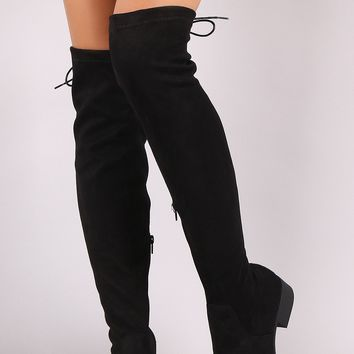 Suede Back Corset Lace-Up OTK Riding Boots