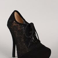 Qupid Onyx-167 Lace Up Oxford Stiletto Bootie