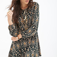 FOREVER 21 Mosaic Print A-Line Dress Hunter Green/Taupe