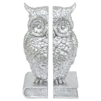"""Three Hands Resin Owl Bookend - Silver (10.25"""")"""