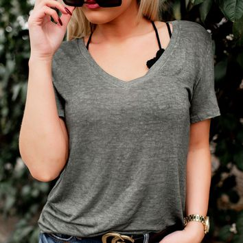 First Things First V-Neck Tee (Olive)