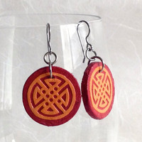 Red Orange Round Hanji Paper Earrings Geometric Circular Design Orange Red Dangle Earrings Hypoallergenic hooks Lightweight