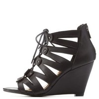 Black Lace-Up Caged Wedge Sandals by Charlotte Russe