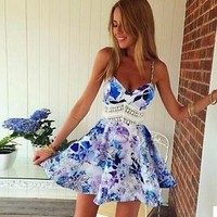 Sexy V-Neck Sleeveless Floral Printed Casual Beach Spaghetti Strap Skater Dress