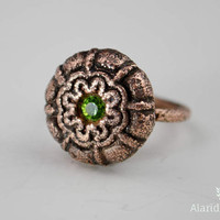 Patterned Copper Ring // Peridot // Swarvoski Crystal // Vintage Button Ring // Size 8 // Electroformed Copper // One of a Kind Ring