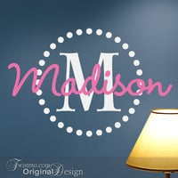 Girls Monogram Vinyl Wall Decals, Name & Initial with Circle of Dots for Your Bedroom Decor