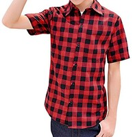 Pishon Men's Button Down Shirts Summer Casual Button Up Cotton Checkered Shirts, Red, Medium
