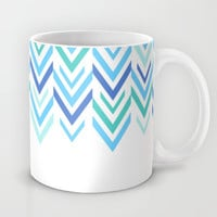 Blue Coffee Mug  - Blue Arrows Mug -  Striped Coffee Cup - ZigZag Blue Art - Made to Order