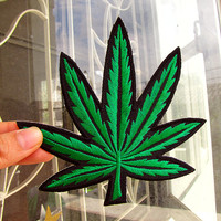 1 Dollar Shipping - Iron On Patch - LARGE Marijuana / Weed / Pot Leaf - Iron On Patch / Applique