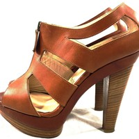Christian Louboutin Tan Leather Platform Sandal Heels IT 38