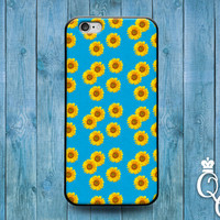 iPhone 4 4s 5 5s 5c 6 6s plus iPod Touch 4th 5th 6th Generation Cute Sunflower Daisy Flower Design Pattern Blue Background Cover Pretty Case