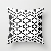aztec in black and white Throw Pillow by spinL
