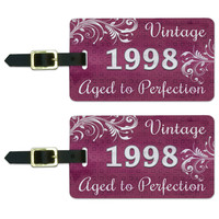 Pink Vintage Aged to Perfection 1998 Luggage Tag Set