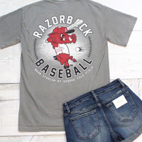 Ribby Razorback Baseball Tee {Grey}
