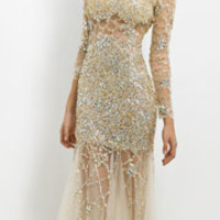 (PRE-ORDER) Blush 2014 Prom Dresses - Gold & Nude Tulle Long Sleeve Mermaid Prom Gown