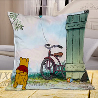 Winnie the Pooh on Square Pillow Cover