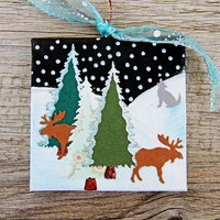 Christmas Ornament on Canvas, Winter Landscape with Trees, Moose and Wolf, Starry Night Scene, Mixed Media Art, Holiday Decoration